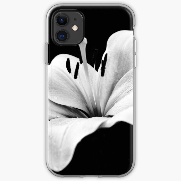 White lily - monochrome iPhone Soft Case