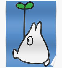 Small White Totoro with Leaf Poster