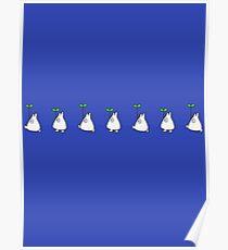 Small White Totoro Walking Poster