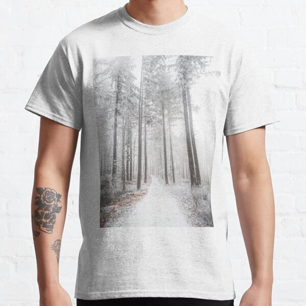 Mysterious road in a frozen foggy forest Classic T-Shirt