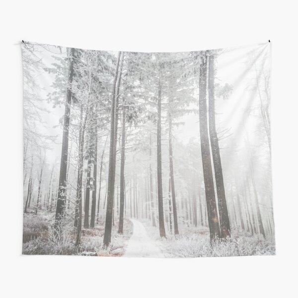 Mysterious road in a frozen foggy forest Tapestry