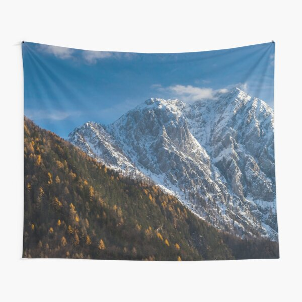 Autumn and winter at snowy mountains Tapestry