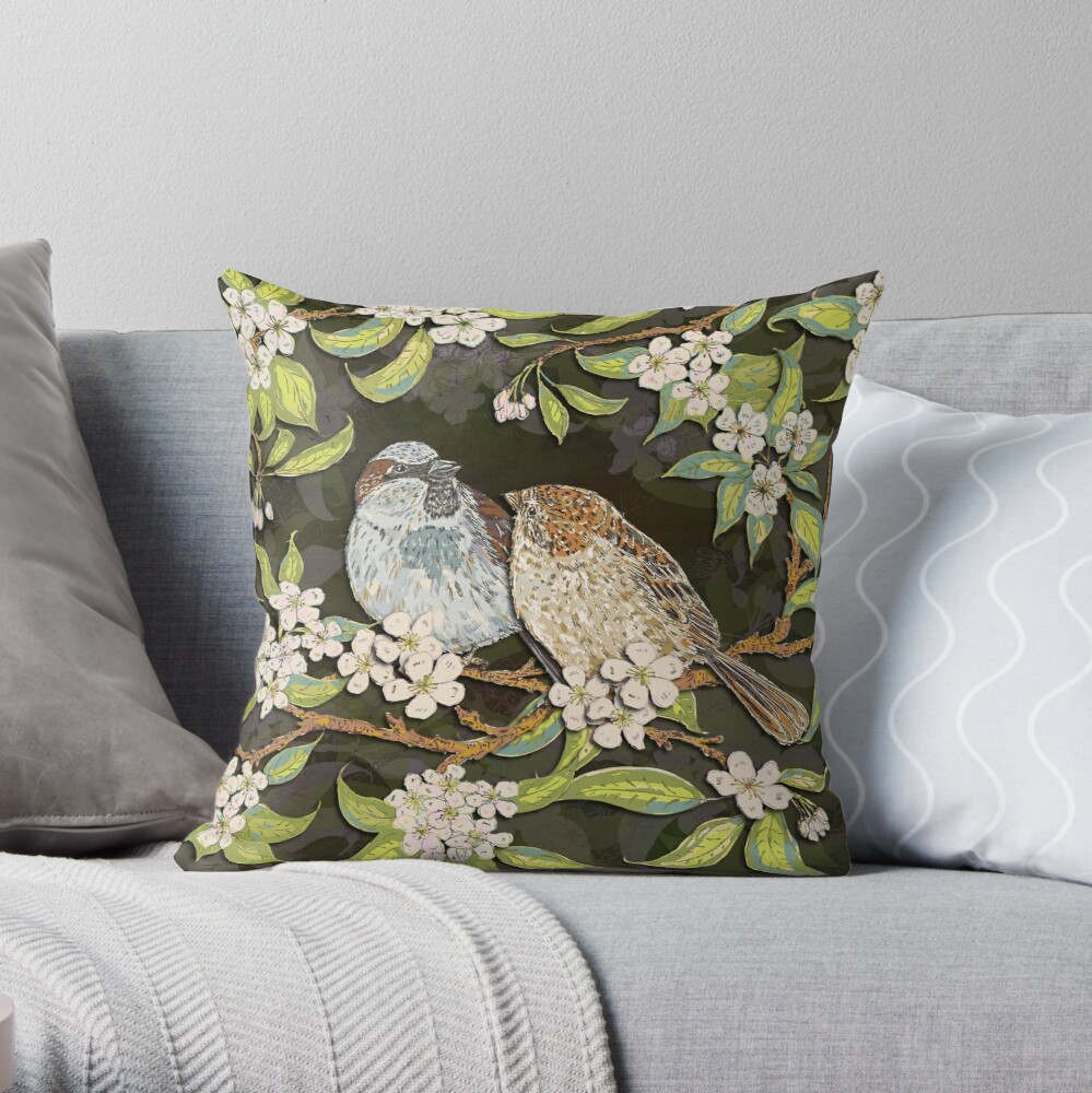 Sparrows in the Plum Tree Throw Pillow