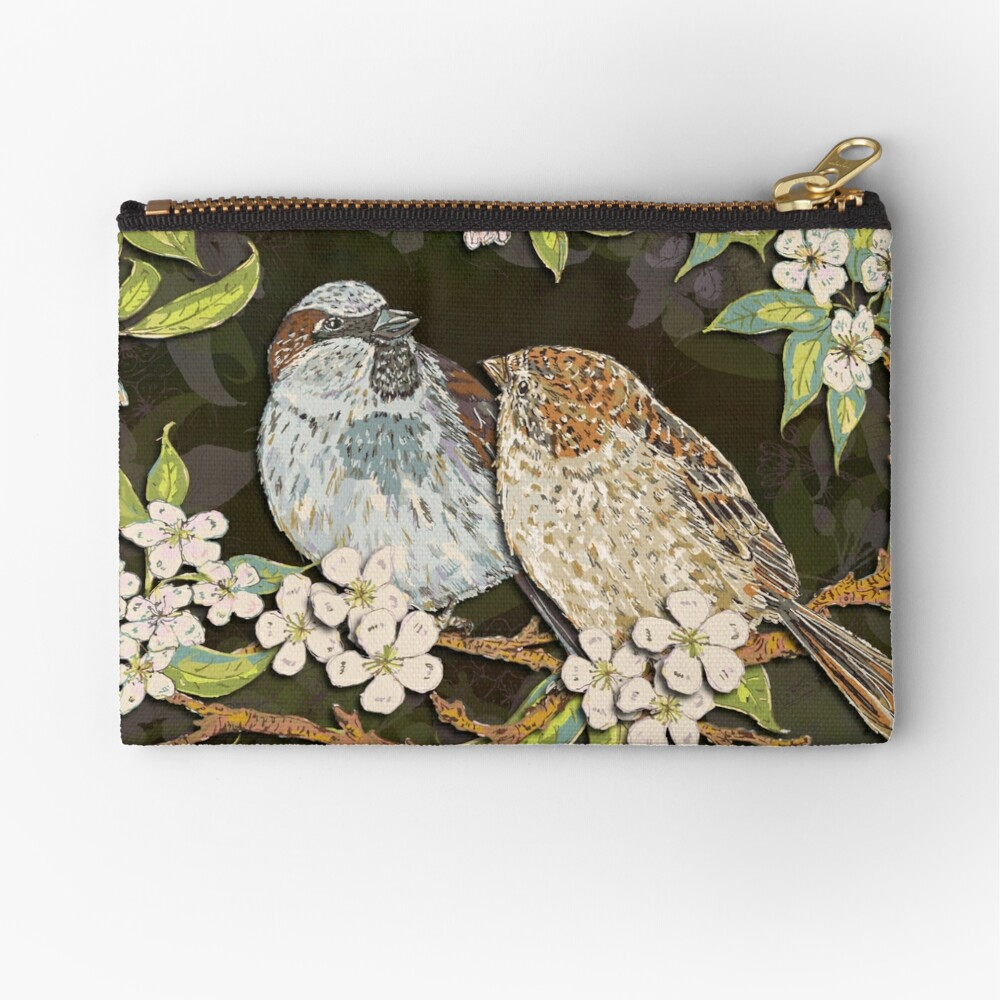 Sparrows in the Plum Tree Zipper Pouch
