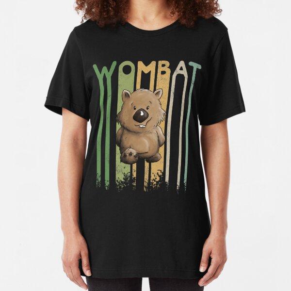 80er Retro Style Lässige Beuteltier Silhouette Funky Wombat Slim Fit T-Shirt