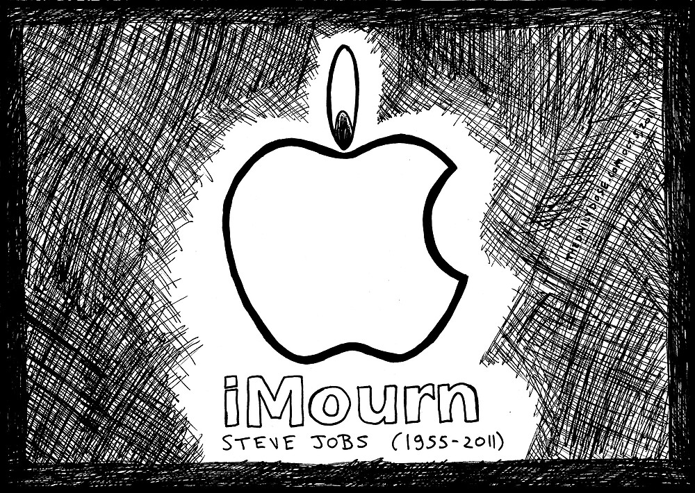 Steve Jobs Apple iMourn Sympathy Card by bubbleicious