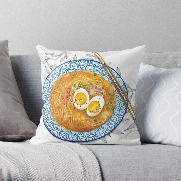 Ramen Noodles Bowl - Watercolour food illustration Throw Pillow