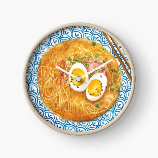Ramen Noodles Bowl - Watercolour food illustration Clock