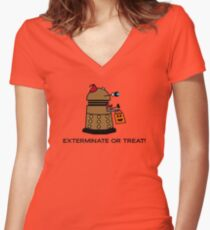 Exterminate or Treat - Full Color Women's Fitted V-Neck T-Shirt