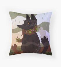 Black Fox in the Rain Throw Pillow