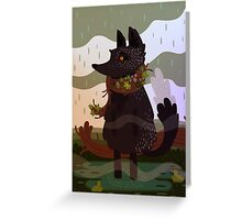 Black Fox in the Rain Greeting Card