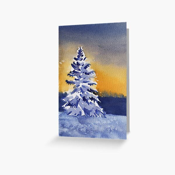 Snowy Tree at Sunset Greeting Card