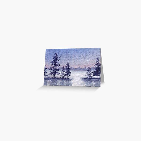 Misty Winter Lake Greeting Card