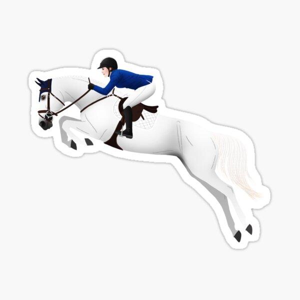 White Warmblood Show Jumper - Equine Rampaige Sticker