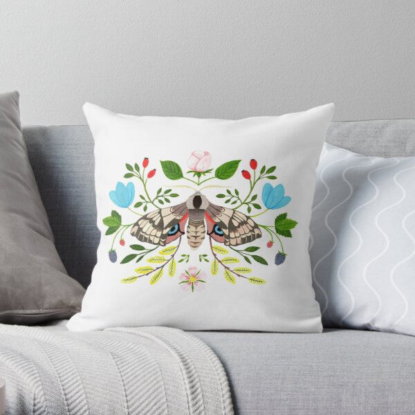 Moth with Berries and Rosehip Throw Pillow