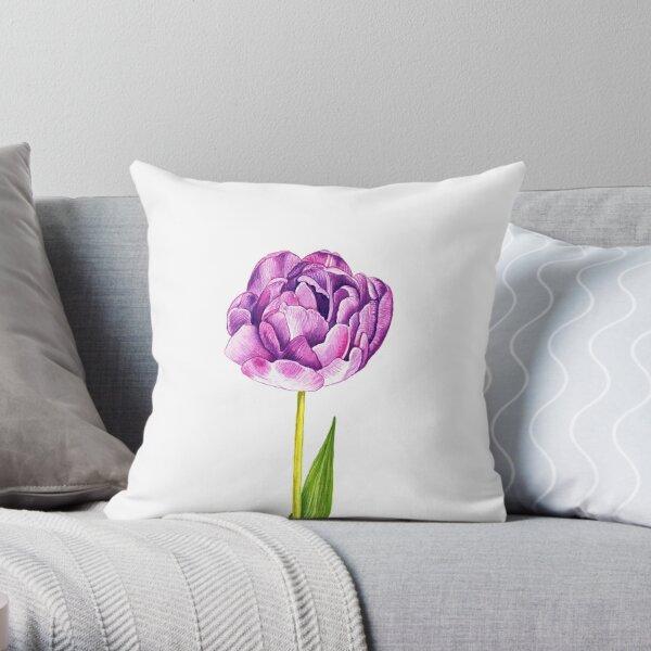 Purple Double Tulip Throw Pillow