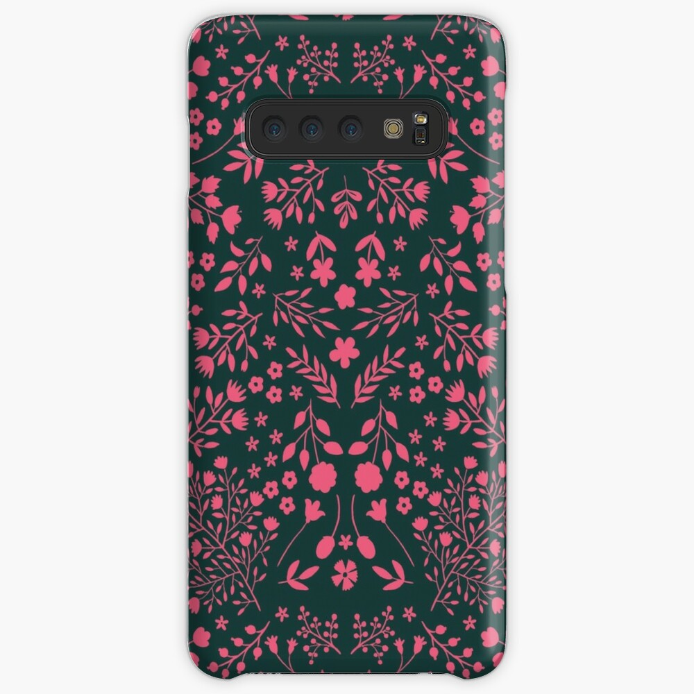 Watercolor Flowers in Pink and Teal Case & Skin for Samsung Galaxy