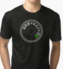Camera Mode Dial Silver Green Tri-blend T-Shirt