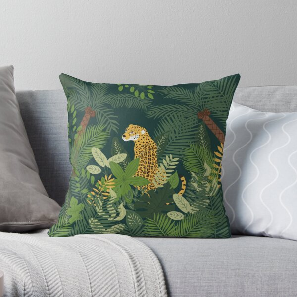 Jaguar in a Jungle on Green Throw Pillow