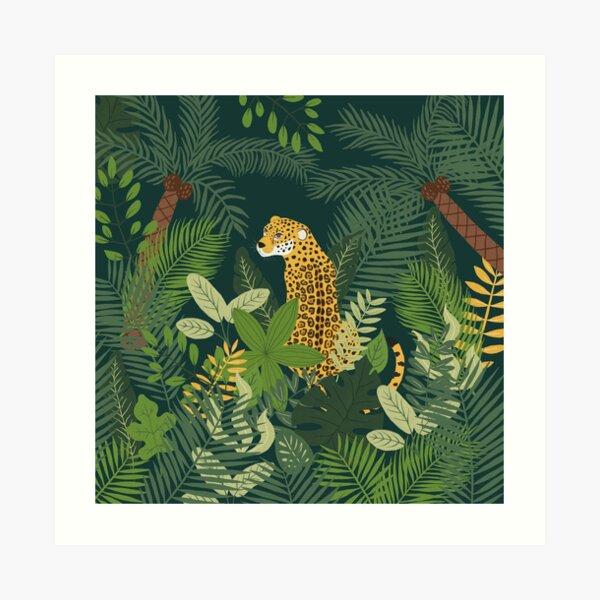 Jaguar in a Jungle on Green Art Print