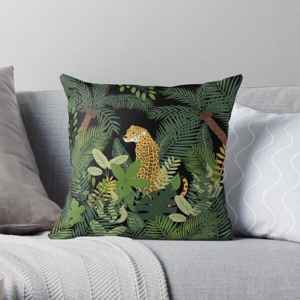 Jaguar in a Jungle on Black Throw Pillow