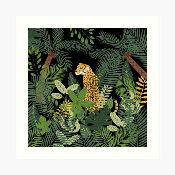 Jaguar in a Jungle on Black Art Print