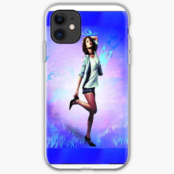 Fun girl, blue iPhone Soft Case