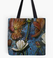 Mixed Poppies on Blue Tote Bag