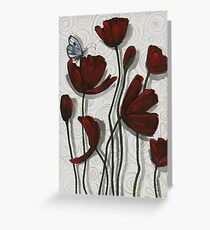 Red Poppies with a Butterfly Greeting Card