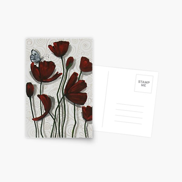 Red Poppies with a Butterfly Postcard
