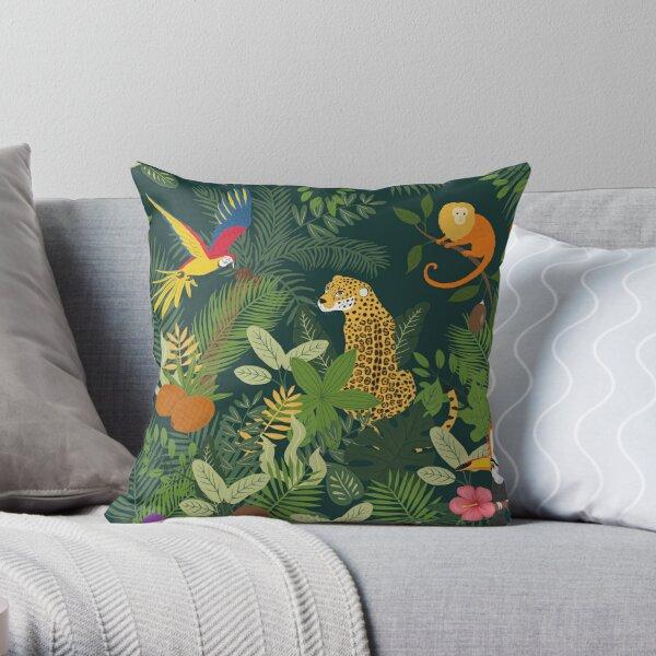 Amazon Jungle on Green Throw Pillow