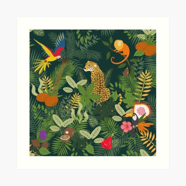 Amazon Jungle on Green Art Print