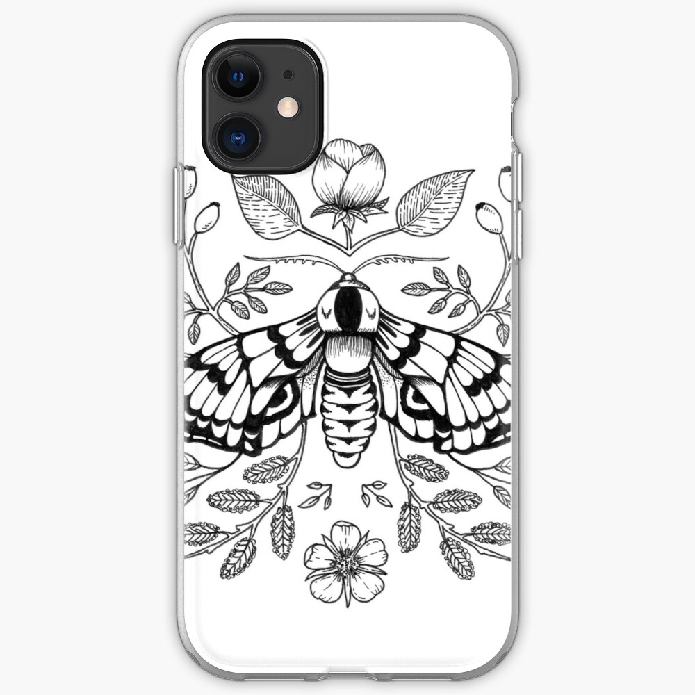 Black Moth with Berries and Rosehip iPhone Case & Cover