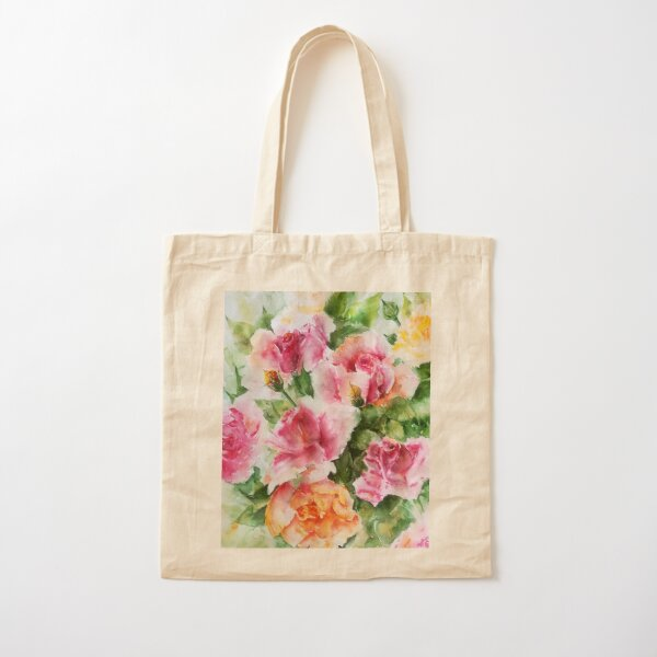 Roses-watercolor Cotton Tote Bag