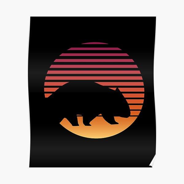 Wombat Retro Cute Australia Wilderness Wild Animal Poster