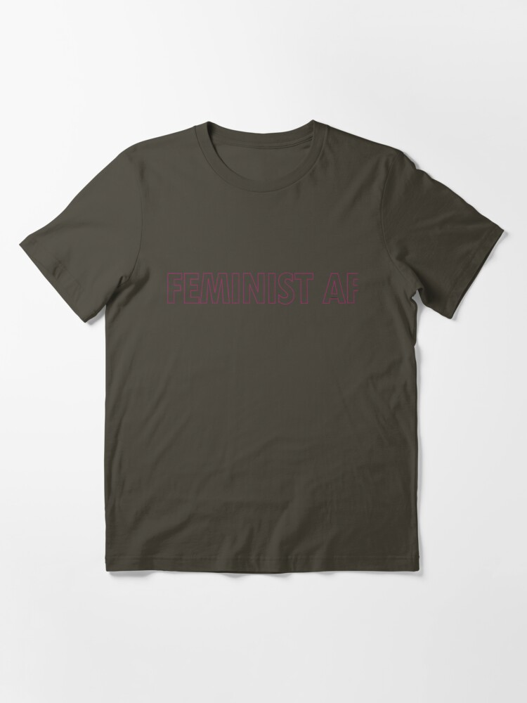 Alternate view of FEMINIST AF - Pinkish and Transparent Essential T-Shirt