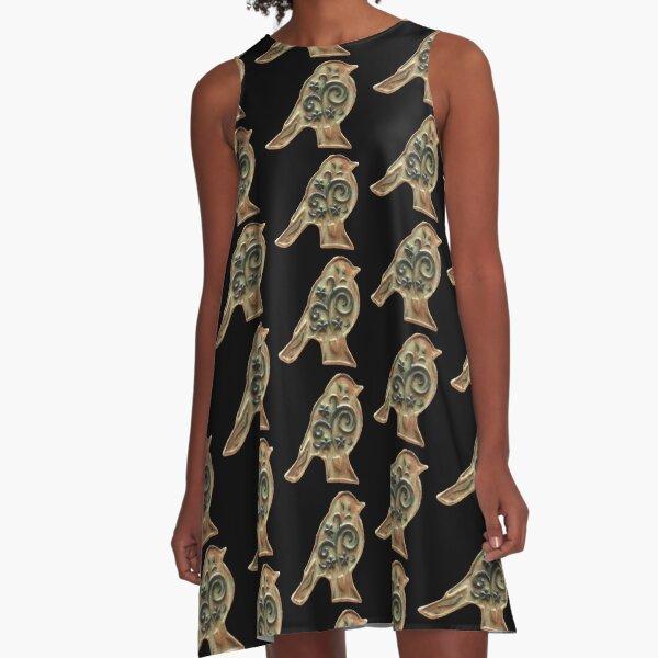 Ceramic Bird A-Line Dress
