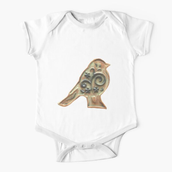 Ceramic Bird Short Sleeve Baby One-Piece