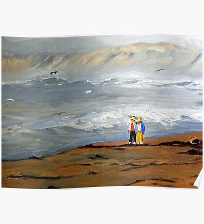 Surfs Up Couple Walk (Painting) Poster