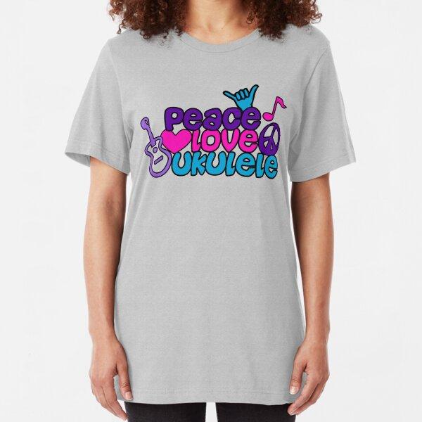 Ukulele Love Peace  Slim Fit T-Shirt