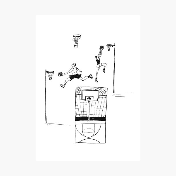 Basketball retro sketch Photographic Print