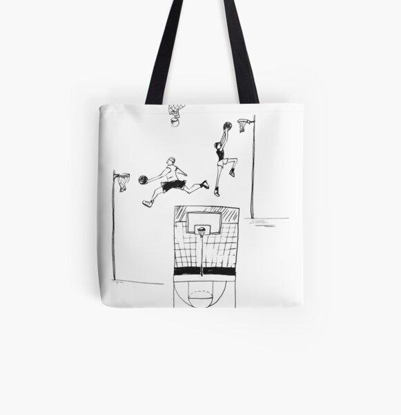 Basketball retro sketch All Over Print Tote Bag