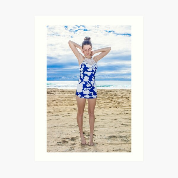 Posing by a Sunny Beach Art Print