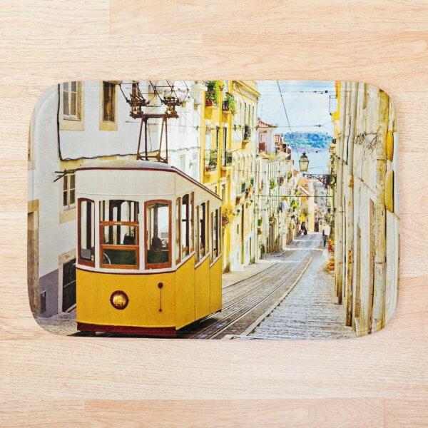 Lisbon Portugal Tram train - Funicular Bath Mat