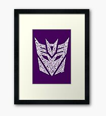 Transformers Decepticons White Framed Print