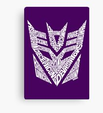Transformers Decepticons White Canvas Print