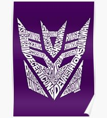 Transformers Decepticons White Poster