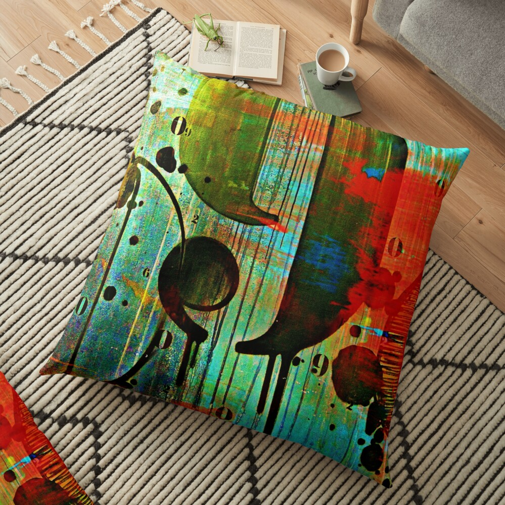 Street numbers on the wall abstract Floor Pillow