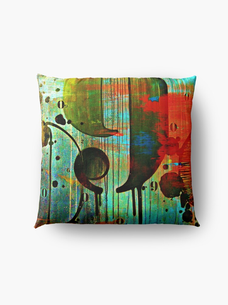 Alternate view of Street numbers on the wall abstract Floor Pillow