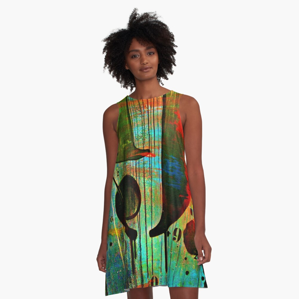 Street numbers on the wall abstract A-Line Dress